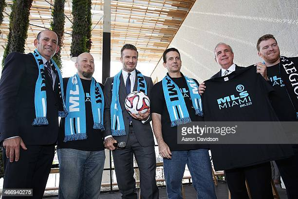 Commissioner Don Garber David Beckham and Mayor Carlos Gimenez attends a press conference to announce their plans to launch a new Major League Soccer...