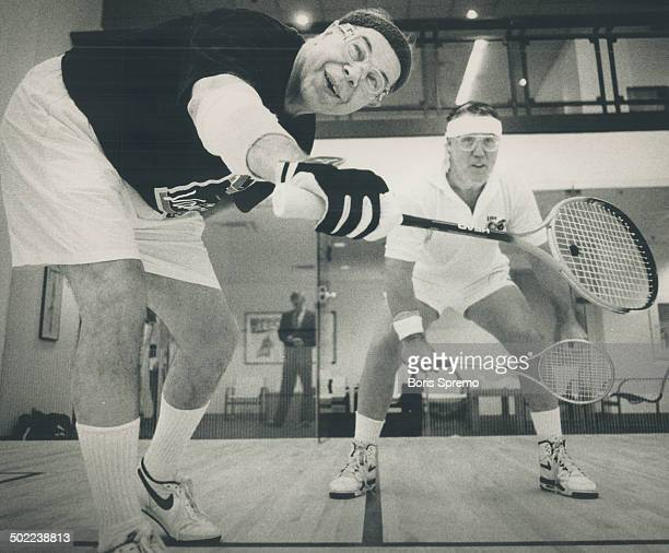 CFL commissioner Donald Crump left does battle with Argonauts head coach Don Matthews on the squash court yesterday at the SkyDome fitness club Crump...