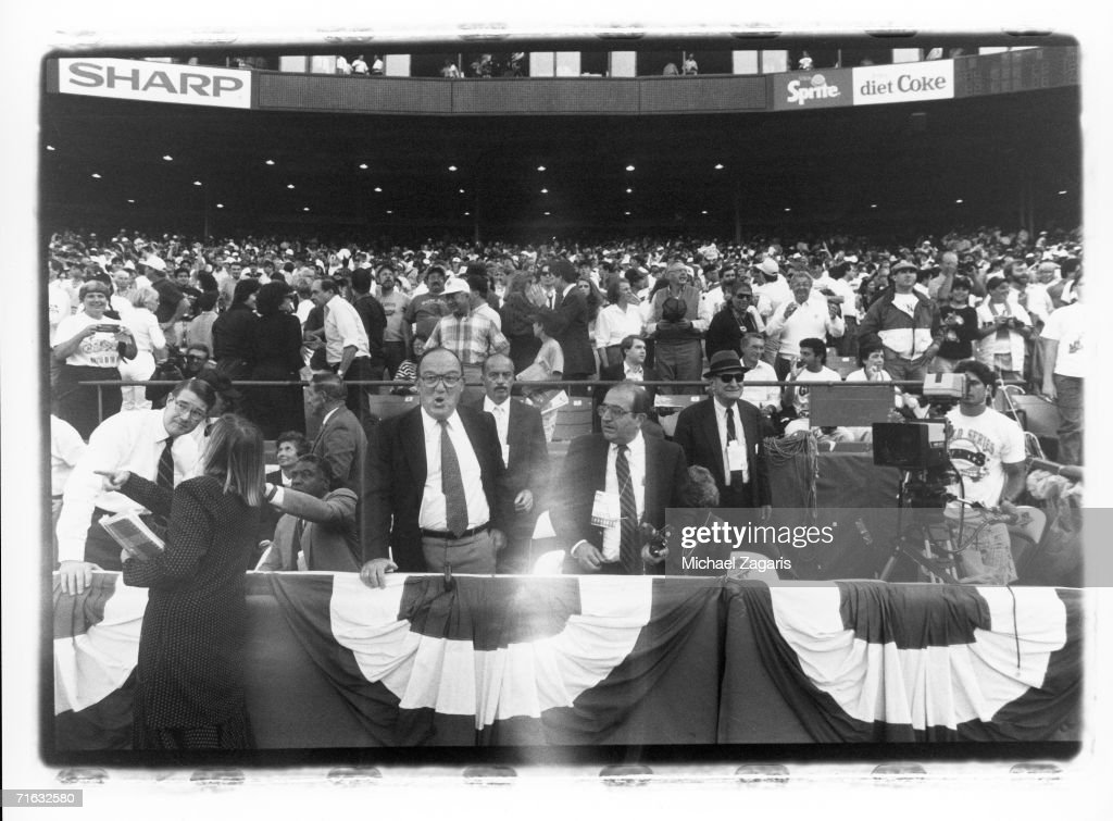 Commissioner Fay Vincent reacts moments after an earthquake struck Candlestick Park before game three of the 1989 World Series between the Oakland...