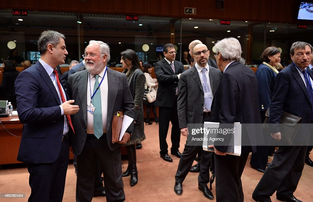 EU Commissioner for Climate Action and Energy, Miguel Arias Canete (2nd L) attends the EU Energy Ministers' meeting at the EU Commission headquarters in Brussels, Belgium, on March 05, 2015.
