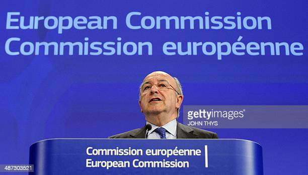 EU Commissioner for Competition Joaquin Almunia gives a press conference on the tech sector and patents at the European Union Headquarters in...