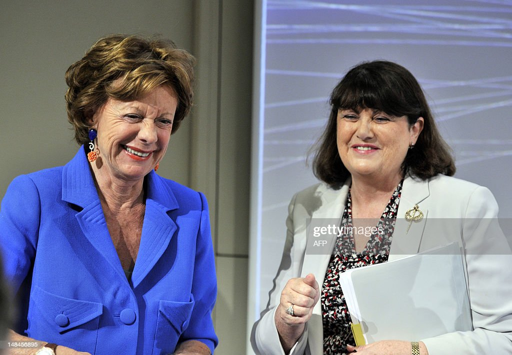 EU commissioner for Digital Agenda Neelie Kroes and EU commissioner for Research, Innovation and Science Maire Geoghegan-Quinn give a press conference on completing a single market for innovation,on July 17, 2012 at the EU Headquarters in Brussels. AFP PHOTO GEORGES GOBET