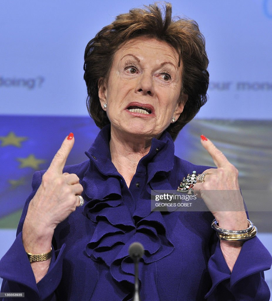 EU commissioner for Digital Agenda Neelie Kroes gestures during her press conference on Open Data Strategy for Europe on December 12, 2011 at the European Headquarters in Brussels.