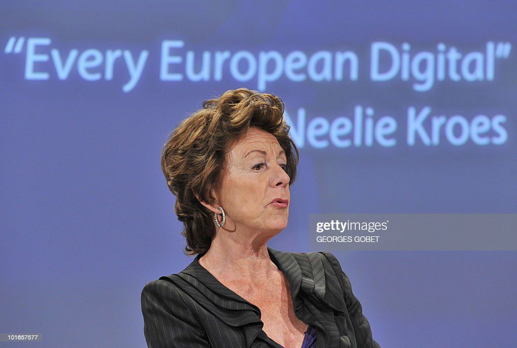 EU commissioner for Digital Agenda Neelie Kroes gives a press conference on May 19, 2010 at the EU headquarters in Brussels.