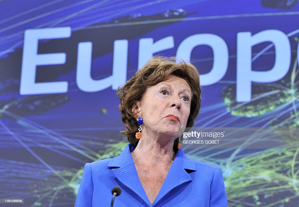 EU commissioner for Digital Agenda Neelie Kroes gives a press conference on completing a single market for innovation,on July 17, 2012 at the EU Headquarters in Brussels. AFP PHOTO /GEORGES GOBET