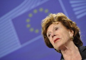 EU commissioner for Digital Agenda Neelie Kroes gives a press conference on a Green Paper 'Preparing for a Fully Converged Audiovisual World Growth...
