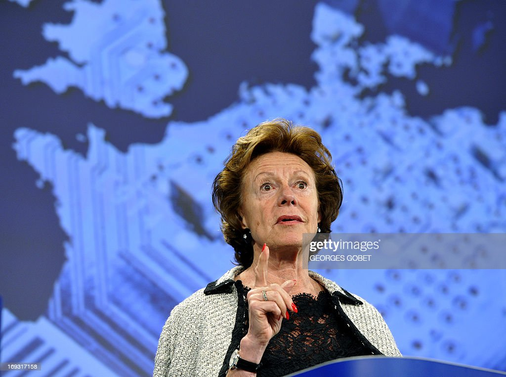EU commissioner for Digital Agenda Neelie Kroes gives a press conference on European Strategy for micro and nanoelectronic components and systems on May 23, 2013 at the EU Headquarters in Brussels.