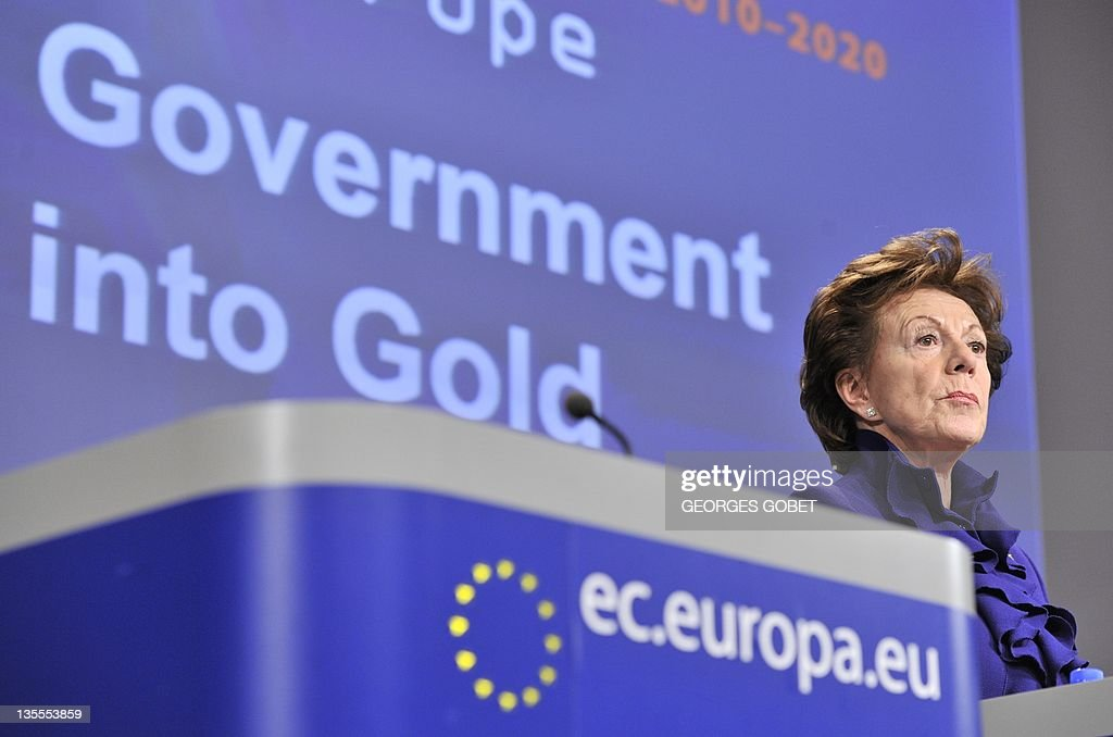 EU commissioner for Digital Agenda Neelie Kroes looks on during her press conference on Open Data Strategy for Europe on December 12, 2011 at the European Headquarters in Brussels.