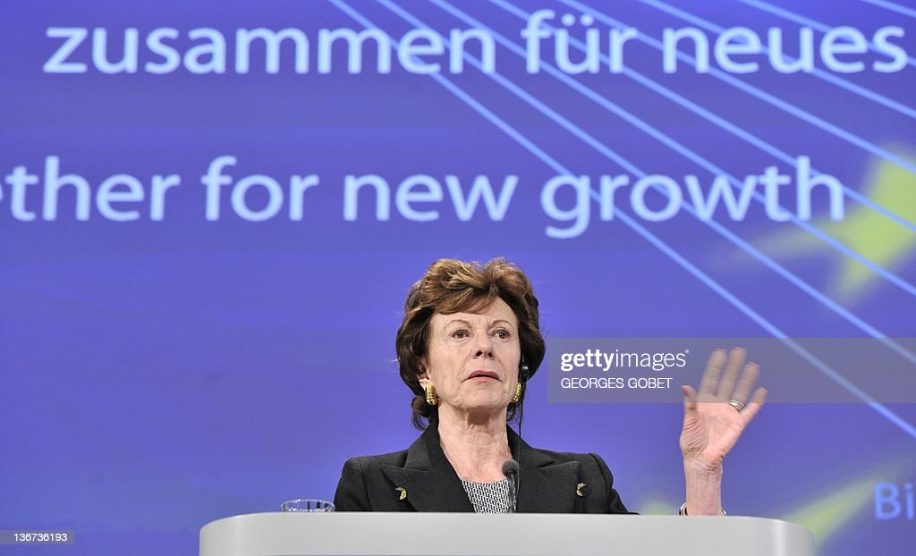 EU commissioner for Digital Agenda Neelie Kroes speaks during a press conference on breaking down barriers to secure and innovative card, internet and mobile payments and an Action plan to double the share of the Internet economy in Europe by 2015 on January 11, 2012 at the EU Headquarters in Brussels. AFP PHOTO/GEORGES GOBET