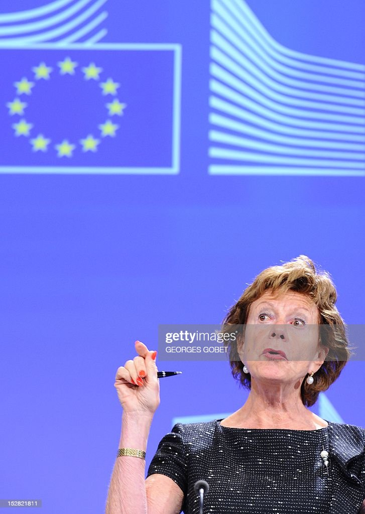 EU commissioner for Digital Agenda Neelie Kroes speaks during a press conference about integrated cloud computing strategies for the European Union on September 27, 2012 at the EU Headquarters in Brussels. AFP PHOTO / GEORGES GOBET