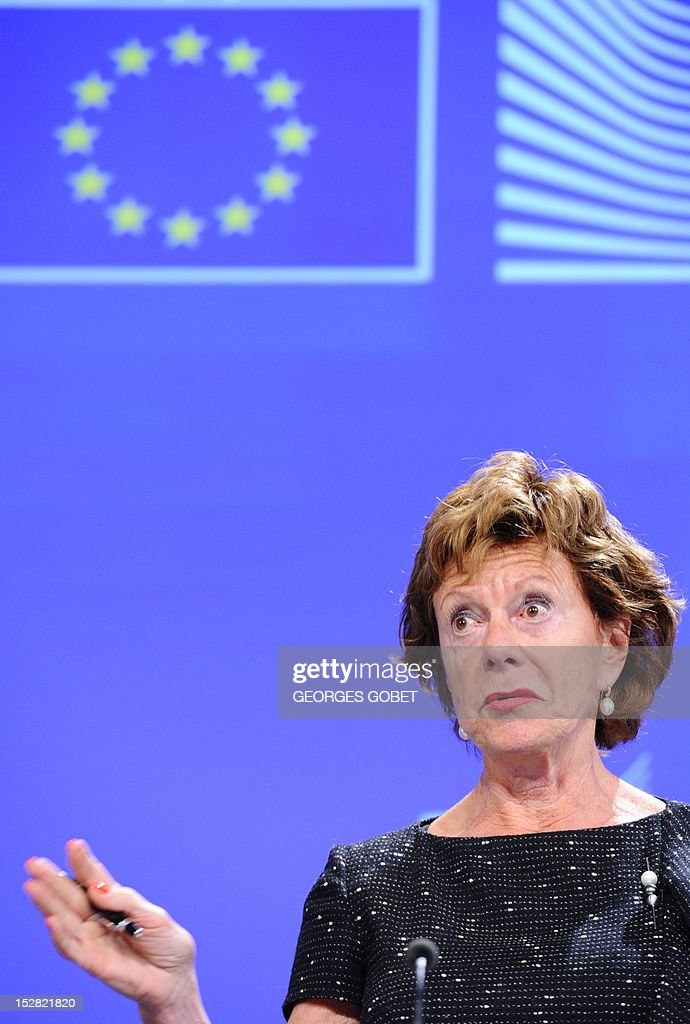 EU commissioner for Digital Agenda Neelie Kroes speaks during a press conference about integrated cloud computing strategies for the European Union on September 27, 2012 at the EU Headquarters in Brussels.