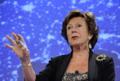 EU commissioner for Digital Agenda Neelie Kroes speaks during a press conference dedicated to the Commission's proposal to step forward on the...