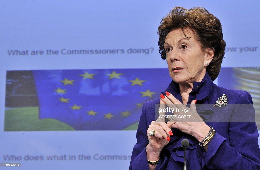 EU commissioner for Digital Agenda Neelie Kroes speaks during her press conference on Open Data Strategy for Europe on December 12, 2011 at the European Headquarters in Brussels. AFP PHOTO GEORGES GOBET