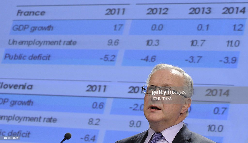EU commissioner for Economic and Monetary Affairs Olli Rehn gives on February 22, 2013 a press conference on the European Economic Forercast at the EU Headquarters in Brussels.