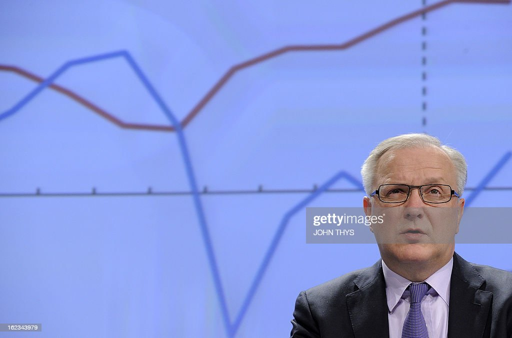 EU commissioner for Economic and Monetary Affairs Olli Rehn gives on February 22, 2013 a press conference on the European Economic Forercast at the EU Headquarters in Brussels. AFP PHOTO JOHN THYS