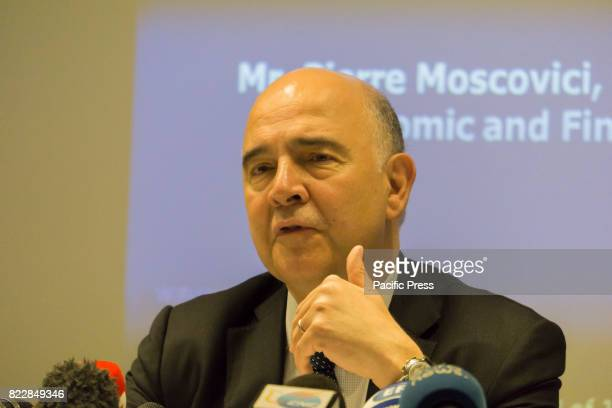 Commissioner for Economic and Monetary Affairs Pierre Moscovici during a press conference where he indicated Greece can return to the markets at...