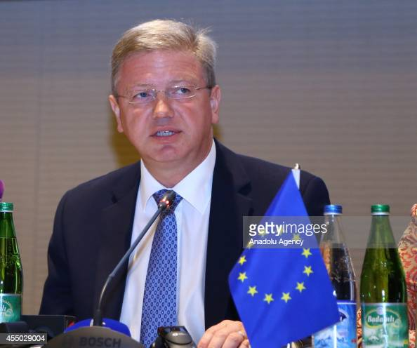 EU commissioner for Enlargement and European Neighborhood Policy Stefan Fule speaks during a joint press conference following an Informal Dialogue...