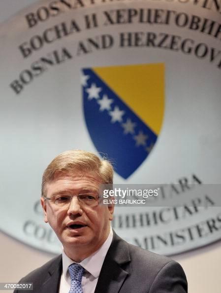 EU Commissioner for Enlargement Stefan Fuele addresses journalists during press conference in Sarajevo on February 18 2014 Commissioner Fuele arrived...