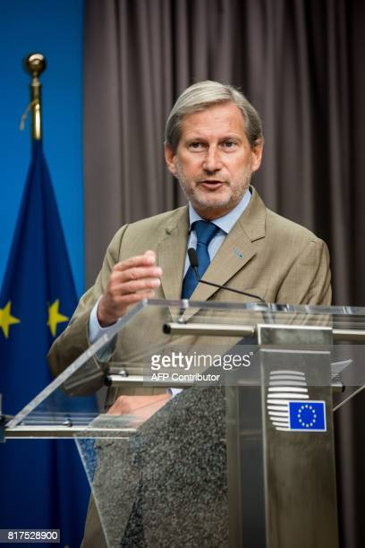 Commissioner for European Neighbourhood Policy and Enlargement Negotiations Johannes Hahn speaks during a press conference after a EUMacedonia...