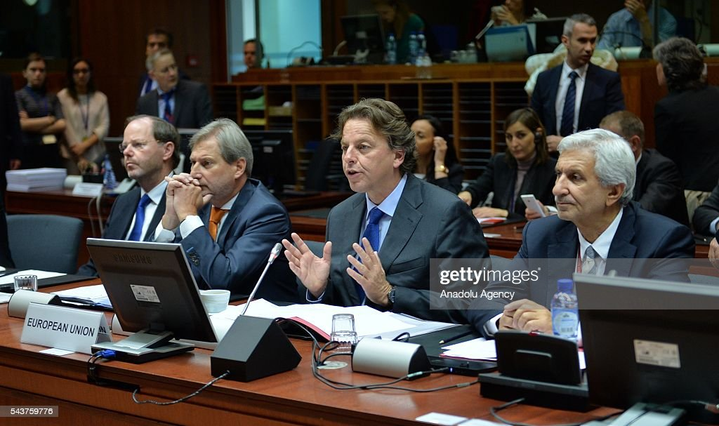 Commissioner for European Neighbourhood Policy & Enlargement Negotiations, Johannes Hahn (L2) and Foreign Affairs Minister of Holland Bert Koenders (R2) attend the Chapter 33 on financial and budgetary provisions as part of the EU-Turkey Intergovernmental Accession Conference in Brussels, Belgium on June 30, 2016.