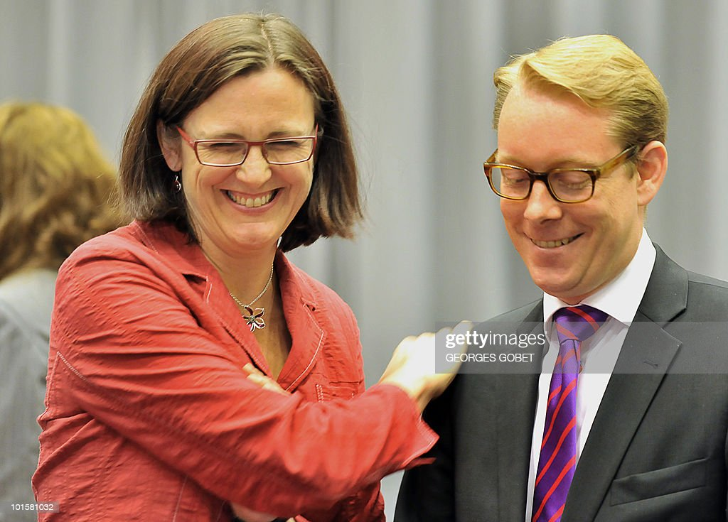 EU commissioner for Home Affairs Cecilia Malmstrom (L) speaks with Swedish Minister of Migration and Asylum Policy Tobias Billstrom (R) prior to a Justice and Home Affairs council meeting on June 3, 2010 at the EU Council building in Luxembourg.