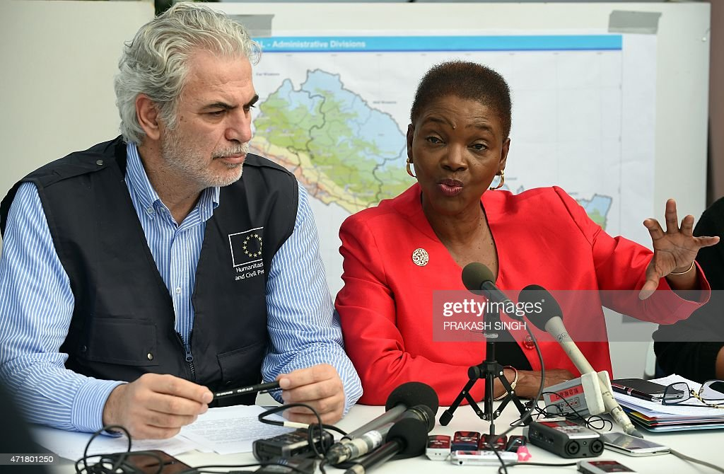 EU Commissioner for Humanitarian Aid and Crisis Management Christos Stylianides watches as UN's Under Secretary General for Humanitarian Affairs and...