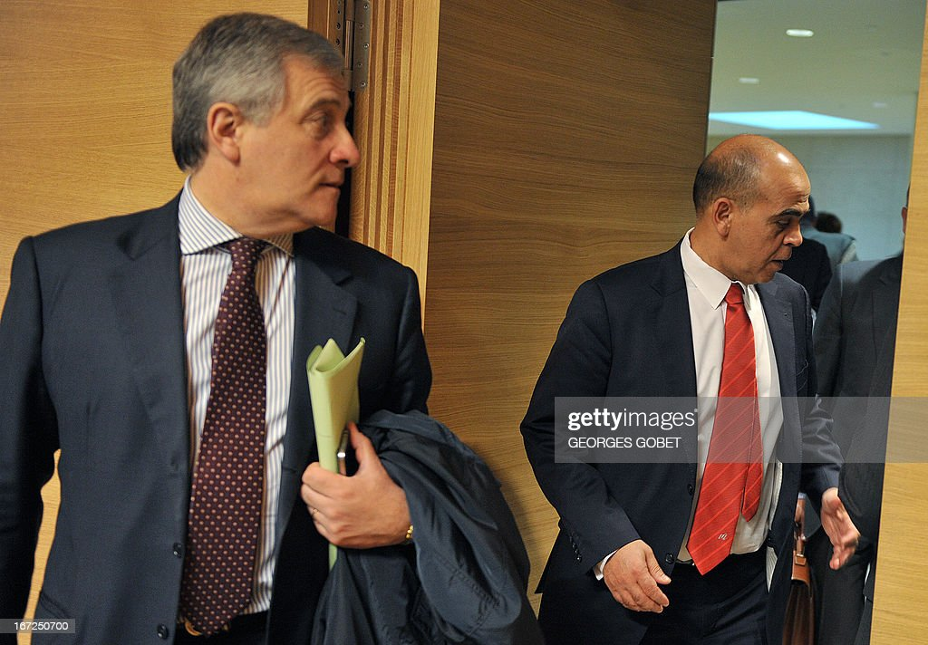 EU commissioner for Industry and Entrepreneurship Antonio Tajani and French Minister delegate for Veterans Kader Arif (R) arrive prior a Foreign Affairs Council (Defence) on April 23, 2013 at the Kirchberg conference center in Luxembourg. EU defence ministers will hold their six-monthly meeting in the framework of the Foreign Affairs Council. They will discuss the situation in the Sahel, Mali and the EU training mission in Mali. AFP PHOTO / GEORGES GOBET