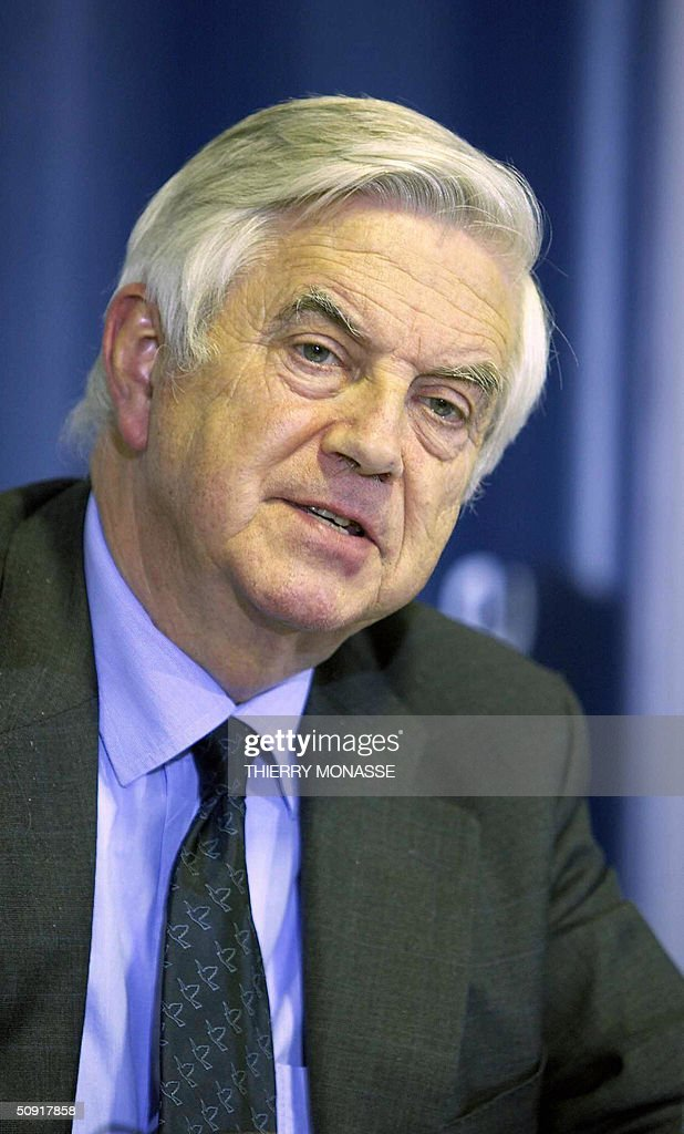 Commissioner for Internal market Dutch Fritz Bolkestein is pictured during a press briefing after the EcoFin Council in the EU Headquarter in...