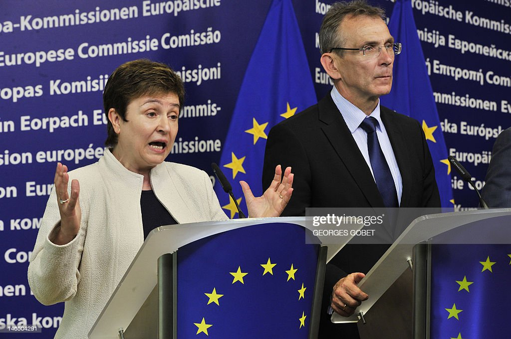 EU commissioner for international cooperation humanitarian aid and crisis response Kristalina Georgieva and EU commissioner for development Andris...
