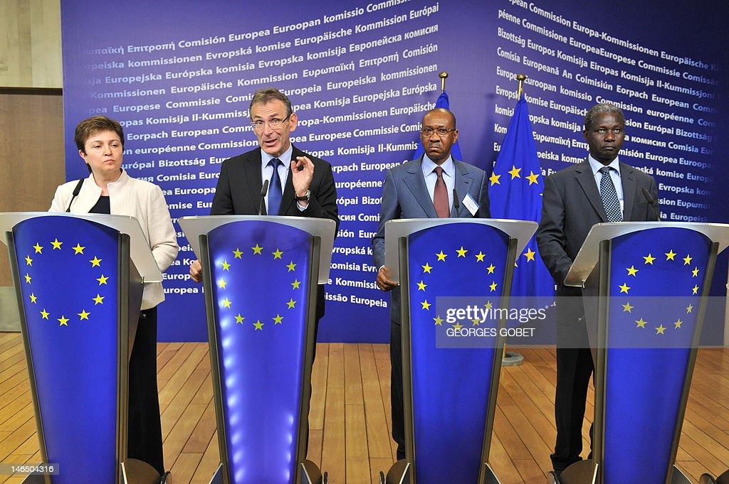 EU commissioner for international cooperation humanitarian aid and crisis response Kristalina Georgieva EU commissioner for development Andris...