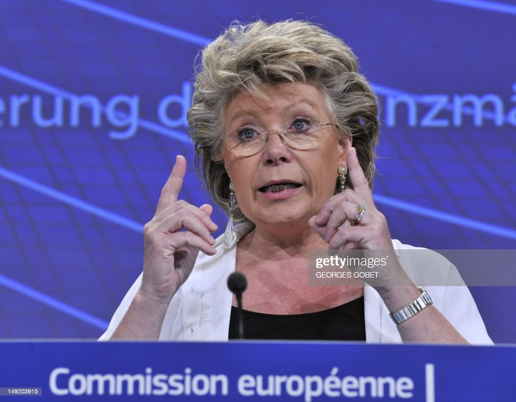 EU commissioner for Justice, Fundamental Rights and Citizenship, Viviane Reding speaks at a press conference on the amended proposals of the European Commission on market abuse on July 25, 2012 at the EU Headquarters in Brussels. GOBET