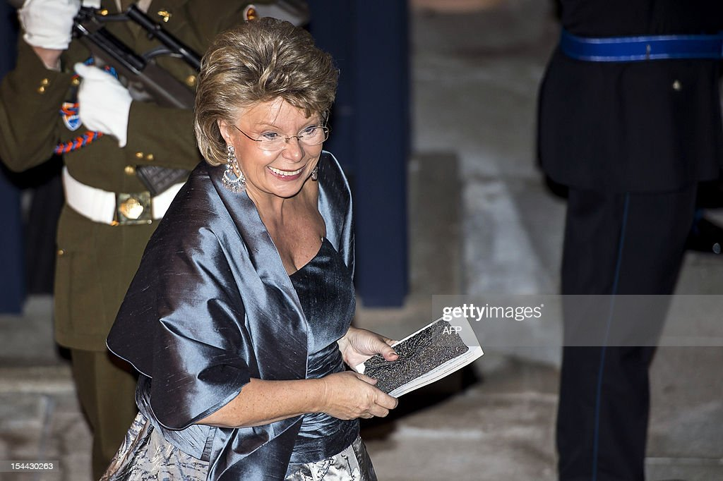 EU commissioner for Justice, Fundamental Rights and Citizenship Viviane Reding arrives for a gala dinner at the Grand-Ducal palace, after the civil wedding of Crown Prince Guillaume of Luxembourg and Belgian Countess Stephanie de Lannoy, on October 19, 2012, in Luxembourg. The 28-year-old bride, who will acquire Luxembourg citizenship through marriage, and the 30-year-old groom tied the knot at city hall in what was a departure from tradition, as previous royal ceremonies were held at the Grand-Ducal palace.