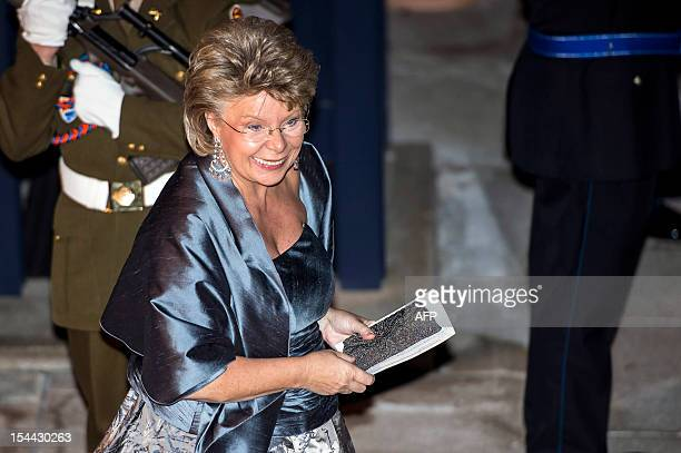 EU commissioner for Justice Fundamental Rights and Citizenship Viviane Reding arrives for a gala dinner at the GrandDucal palace after the civil...