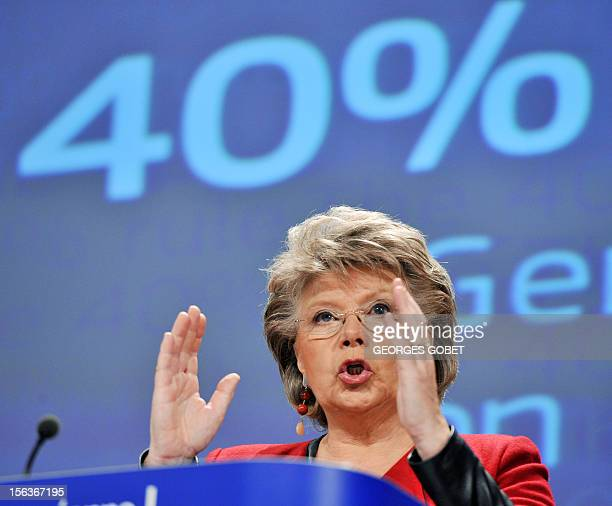 EU commissioner for Justice Fundamental Rights and Citizenship Viviane Reding gives a press conference to present proposals to improve gender balance...