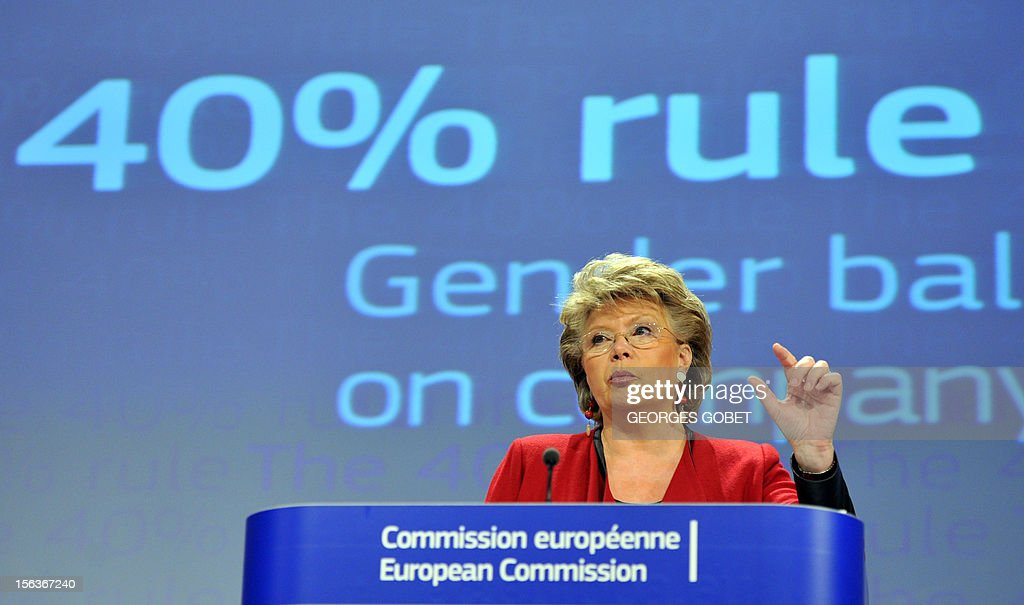 EU commissioner for Justice, Fundamental Rights and Citizenship Viviane Reding gives a press conference to present proposals to improve gender balance on company boards across the EU on November 14, 2012 at the EU Headquarters in Brussels.