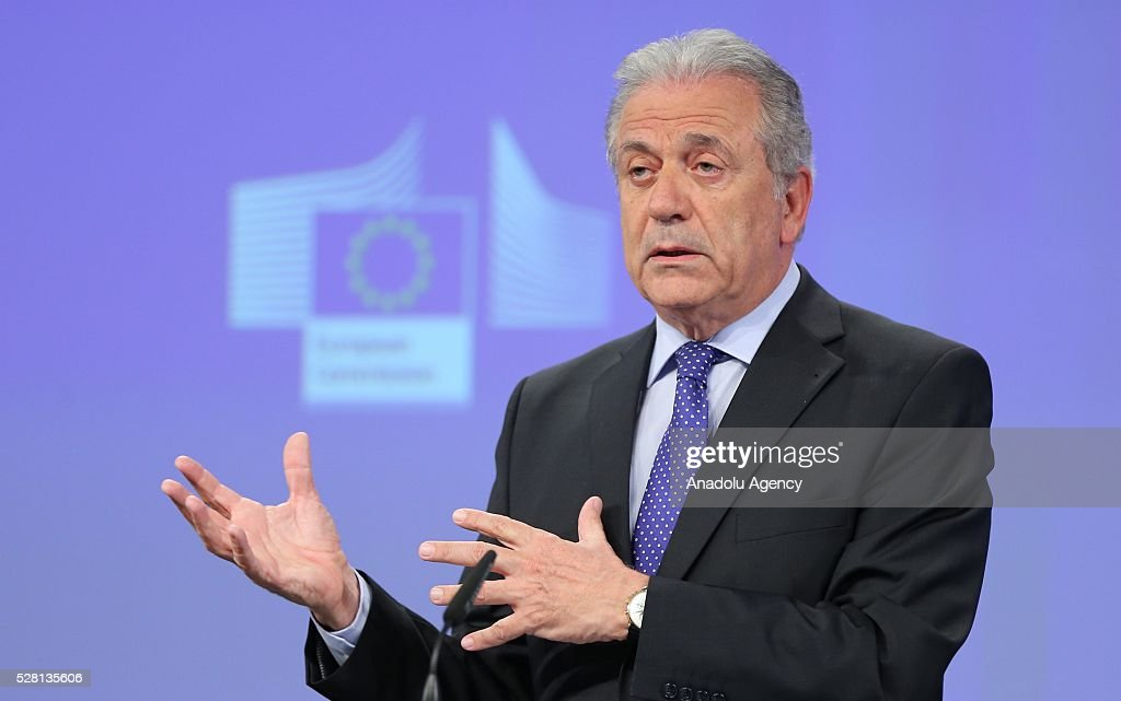 EU Commissioner for Migration and Home Affairs Dimitris Avramopoulos speaks at a joint press briefing with European Commission Vice-President Frans Timmermans (unseen) in Brussels, Belgium on May 4, 2016. Timmermans and Avramopoulo
