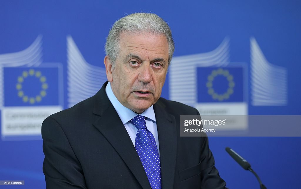 EU Commissioner for Migration and Home Affairs Dimitris Avramopoulos (R) speaks at a joint press briefing with Kosovon Interior Minister Skender Hyseni (not seen) in Brussels, Belgium on May 4, 2016.