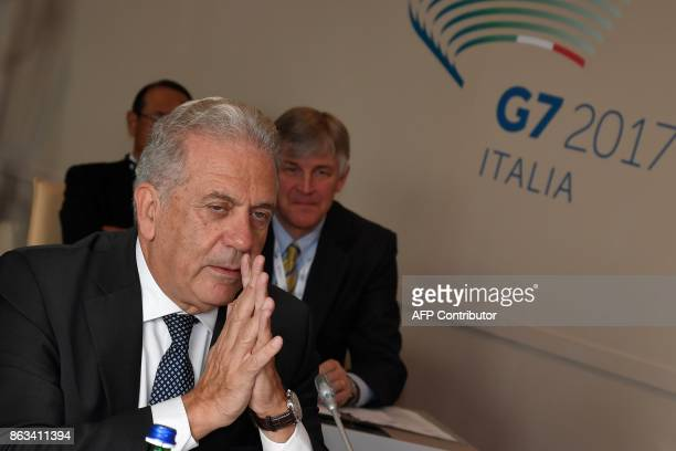 EU commissioner for migration Dimitris Avramopoulos looks on as he attends before a working session at the G7 summit of Interior Ministers with...