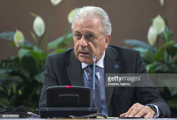 Commissioner for Migration Home Affairs and Citizenship Dimitris Avramopoulos delivers a speech during a joint press conference with Italy's Interior...
