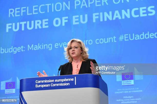EU Commissioner for regional policy Corina Cretu addresses a press conference on future of the EU Budget at the European commission in Brussels on...