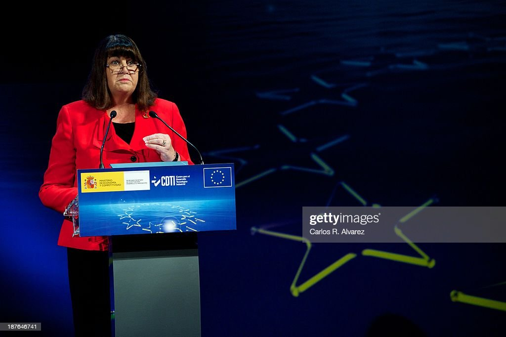 EU commissioner for Research, Innovation and Science <a gi-track='captionPersonalityLinkClicked' href=/galleries/search?phrase=Maire+Geoghegan-Quinn&family=editorial&specificpeople=6730937 ng-click='$event.stopPropagation()'>Maire Geoghegan-Quinn</a> attends the opening of the '7th Conference Program For Research And Innovation Framework Of The European Union. Horizon 2020 Knowledge To Innovation' at the Auditorium Hotel on November 11, 2013 in Madrid, Spain.