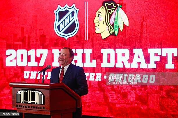 Commissioner Gary Bettman addresses the media during a press conference announcing the 2017 NHL Draft will be held at the United Center February 11...