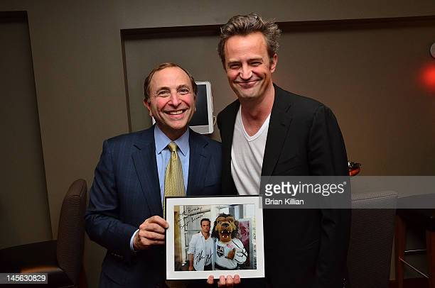 NHL Commissioner Gary Bettman and actor Matthew Perry attend the Los Angeles Kings vs the New Jersey Devils game two during the 2012 Stanley Cup...