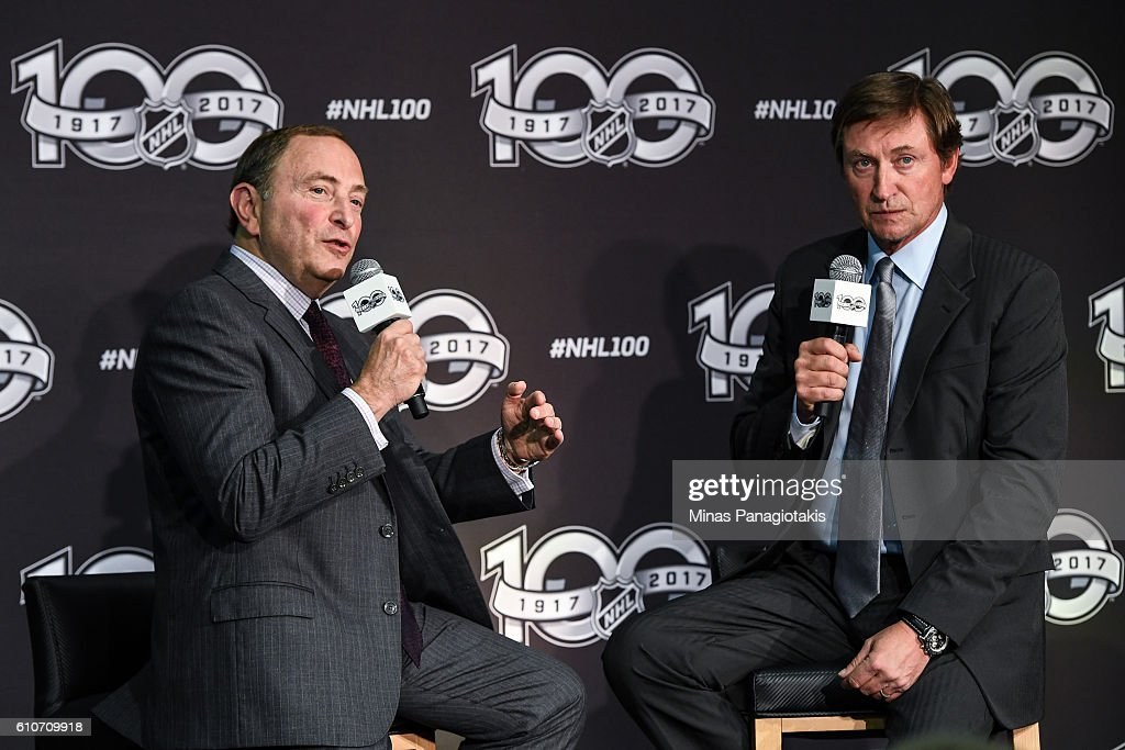 Commissioner Gary Bettman and hockey icon Wayne Gretzky unveil the League's Centennial celebration plans for 2017 during a press conference at the World Cup of Hockey 2016 at Air Canada Centre on September 27, 2016 in Toronto, Ontario, Canada.
