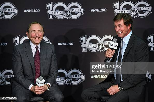 Commissioner Gary Bettman and hockey icon Wayne Gretzky unveil the League's Centennial celebration plans for 2017 during a press conference at the...
