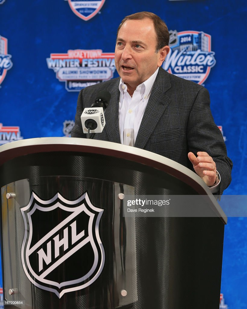 Commissioner <a gi-track='captionPersonalityLinkClicked' href=/galleries/search?phrase=Gary+Bettman&family=editorial&specificpeople=215089 ng-click='$event.stopPropagation()'>Gary Bettman</a> announces the 2014 NHL Winter Classic during the Press Announcement on April 7, 2013 at Joe Louis Arena in Detroit, Michigan.