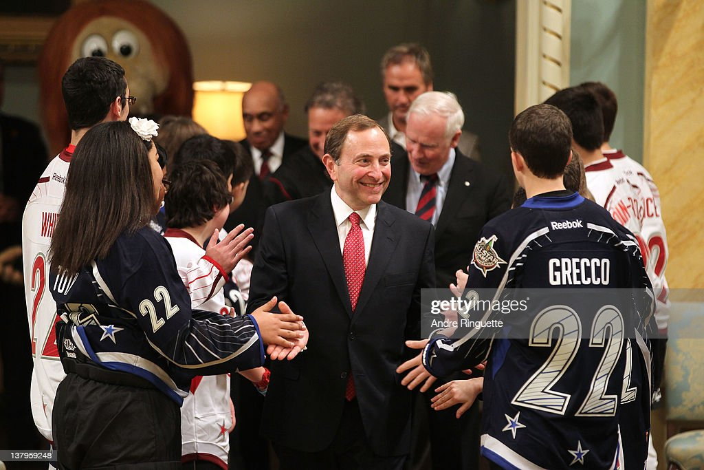 Commissioner <a gi-track='captionPersonalityLinkClicked' href=/galleries/search?phrase=Gary+Bettman&family=editorial&specificpeople=215089 ng-click='$event.stopPropagation()'>Gary Bettman</a> arrives for the 2012 NHL All-Star Game - H.E.R.O.S. Community Program Launch at Rideau Hall on January 28, 2012 in Ottawa, Ontario, Canada.