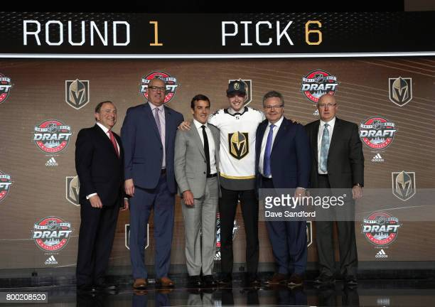 NHL Commissioner Gary Bettman director of amateur scouting Scott Luce general manager George McPhee Cody Glass sixth overall pick of the Vegas Golden...
