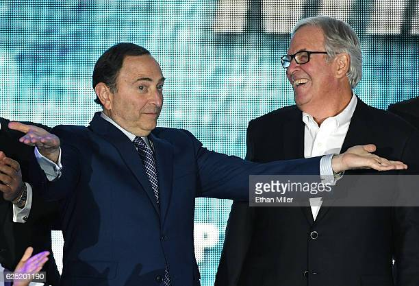 Commissioner Gary Bettman encourages people to boo him as majority owner Bill Foley looks on before the Vegas Golden Knights was announced as the...