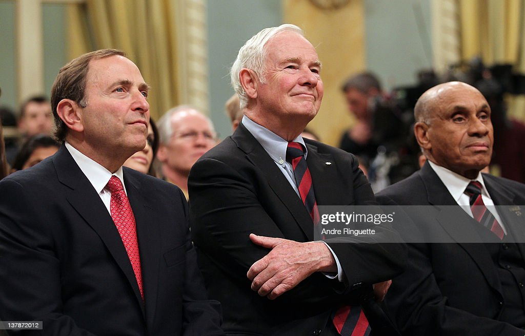 NHL Commissioner <a gi-track='captionPersonalityLinkClicked' href=/galleries/search?phrase=Gary+Bettman&family=editorial&specificpeople=215089 ng-click='$event.stopPropagation()'>Gary Bettman</a>, Governor General of Canada David Johnston and NHL Ambassador Willie O'Ree look on during the 2012 NHL All-Star Game - H.E.R.O.S. Community Program Launch at Rideau Hall on January 28, 2012 in Ottawa, Ontario, Canada.